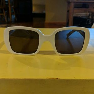 Square white framed Quay Australia sunglasses